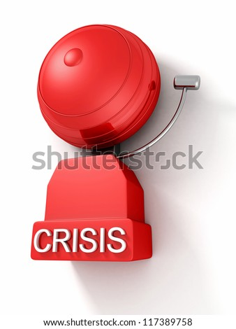older style crisis red alarm bell on white background