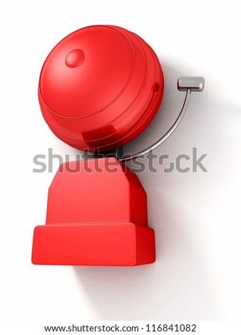 older style red alarm bell on white background