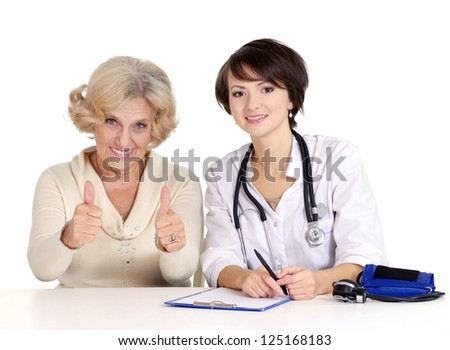 older woman came to the reception to the doctor