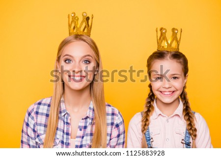 Older younger youth best favorite concept. Close up portrait of excited positive funny funky stylish joyful beautiful lady and cute sweet kid with pigtails with golden crown isolated bright background