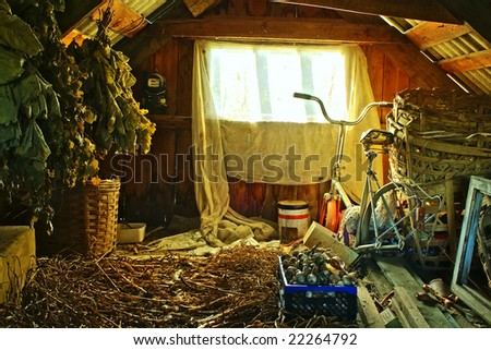 Oldest attic in summer house - stock photo