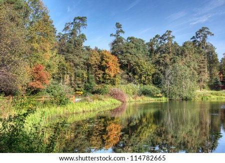 oldest lake in the autumn forest