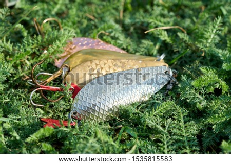 Olds spoon-baits laying on the grass   #1535815583