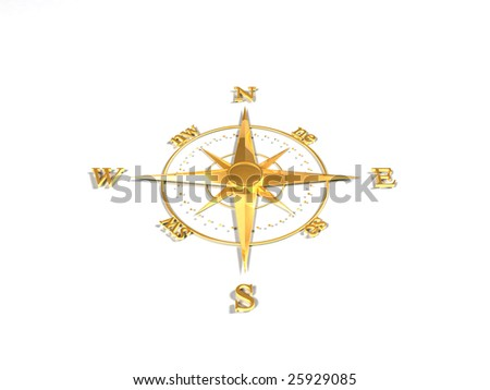 Oldstyle wind rose compass (Gold)