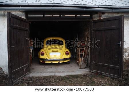 Oldtimer car in garage