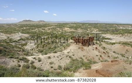Olduvai Gorge in Tanzania, the cradle of man - stock photo