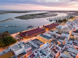 Olhao with two market buildings by Ria Formosa in the evening, Algarve, Portugal