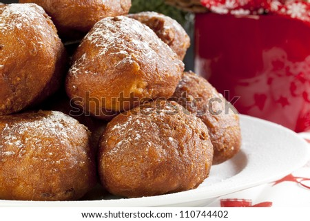 Oliebollen, similar to doughnut holes, a tradition sweet treat in the Netherlands around Christmas