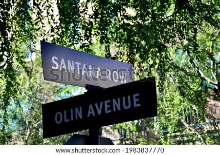 Olin Ave and Santana Row sign San Jose California Foto stock ©