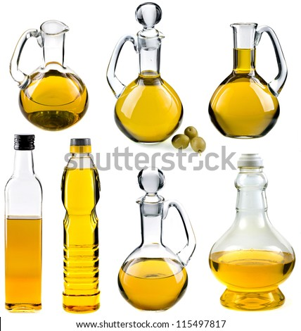 Olive and sunflower oil in the bottles and decanters collection set isolated on white  background