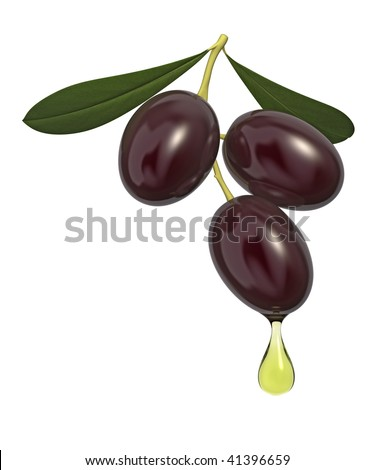 Olive branch with drop of oil isolated on white