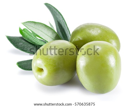 Olive fruit and olive leaves on a white background.