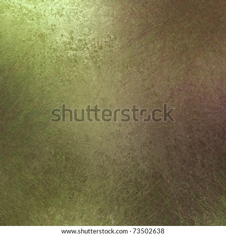 olive green background in natural organic colors with soft highlights, old faded antique grunge texture, and copy space