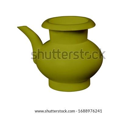 Olive, lota, vessel, bodna, watering pot, garden water pot, Watering can, Watering can isolated, Watering flowers with a water can in garden, water can, plastic water, 3D rendering,