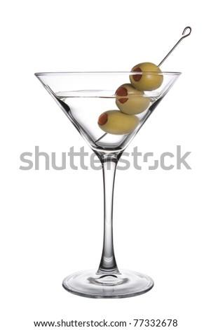 Olive Martini on a white background - stock photo