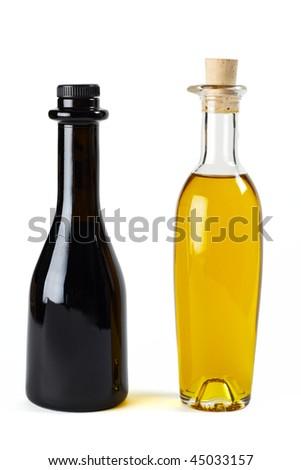 Olive oil and balsamic vinegar in nice bottles