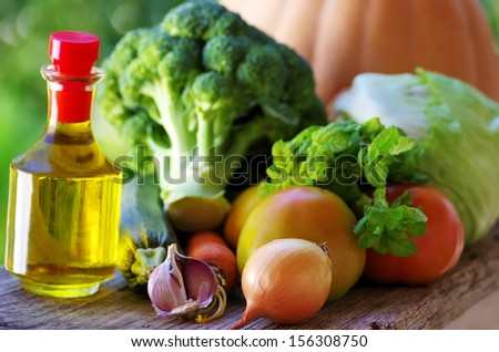 Olive oil and fresh vegetables