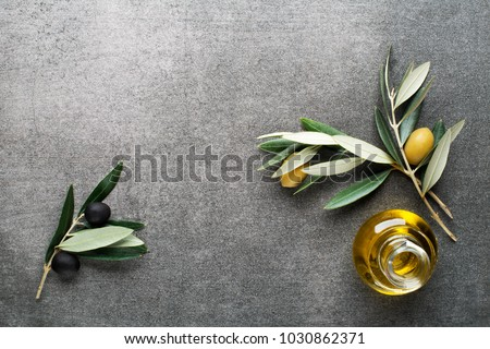 Olive oil and olive branch on gary background #1030862371
