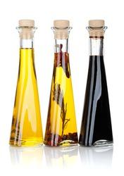 Olive oil and vinegar bottles. Isolated on white background