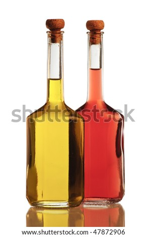 Olive oil and vinegar isolated on white background