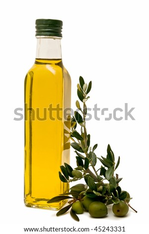 Olive oil bottle, decorated with olives and olive branches - stock photo