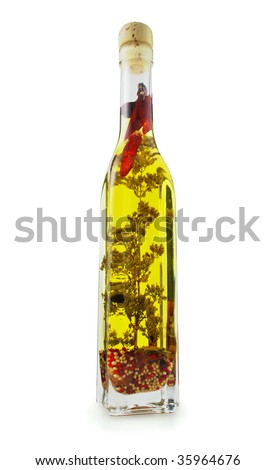 Olive oil bottle isolated on white, Clipping path included.
