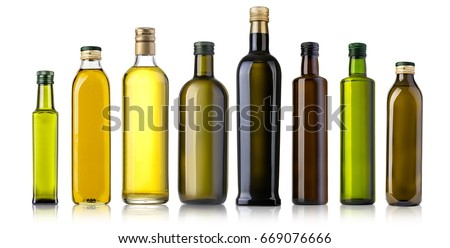 Olive oil bottles isolated on white background  #669076666