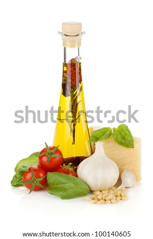 Olive oil, cherry tomatoes, basil, garlic and parmesan. Isolated on white background
