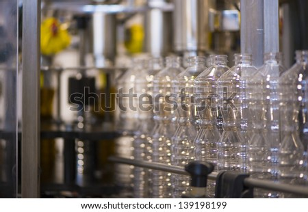 Olive oil factory, Olive Production. Food automation stock photo