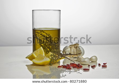 olive oil flavored with rosemary and lemon