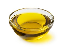 Olive oil in a crow bowl on a white background