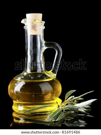 olive oil in jar on black background