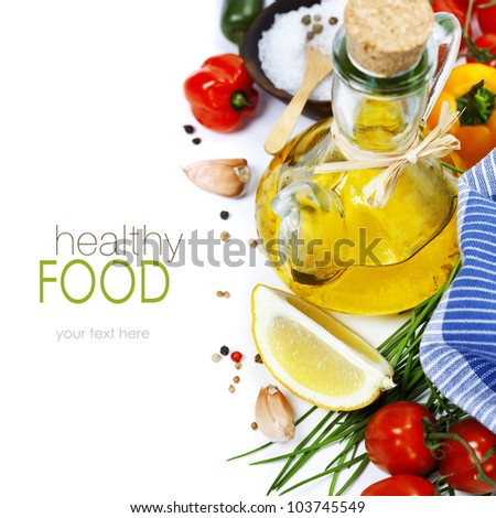 Olive oil, pepper, salt and  fresh vegetables, herbs and spices (with easy removable sample text) - stock photo
