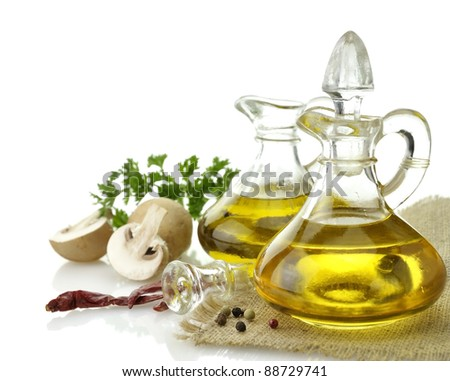 Olive Oil Spices And Mushrooms On White Background