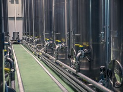 Olive oil tanks. Olive oil factory, Olive Production, tank. Food automation