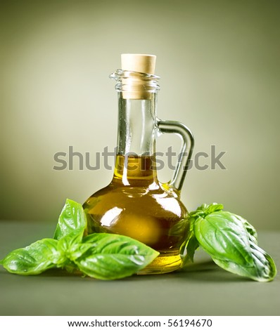 Olive Oil with fresh Basil