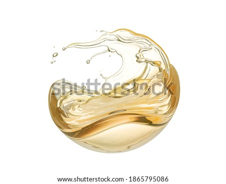 Olive or engine oil splash, cosmetic serum liquid isolated on white background, 3d illustration with Clipping path