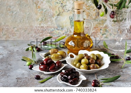 olive products - olive oil, dried olives, pickled olives, olives stuffed with cornichons. #740333824
