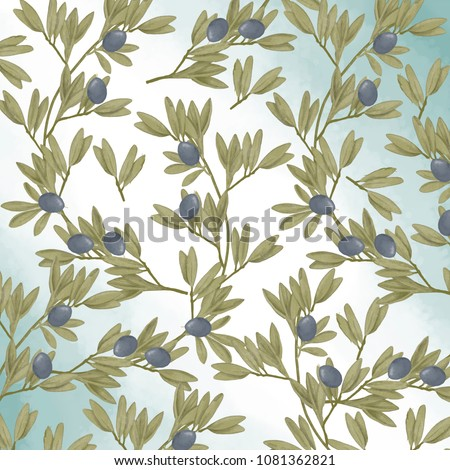 Olive seamlless pattern digital clip art watercolor drawing flowers illustration similar greeting birthday celebration card black frames digital flowers geometric ribbon on white background