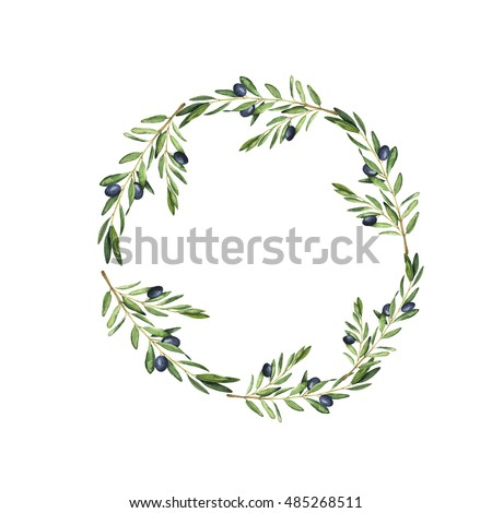 Olive tree wreath painted by watercolor. Design for menu, wedding invitation or greeting card. Hand drawn illustration.