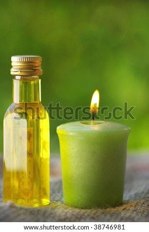 Oliveoil and candle.