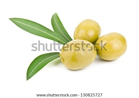 olives and leaves on white