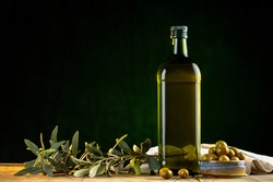 Olives and olive oil in studio