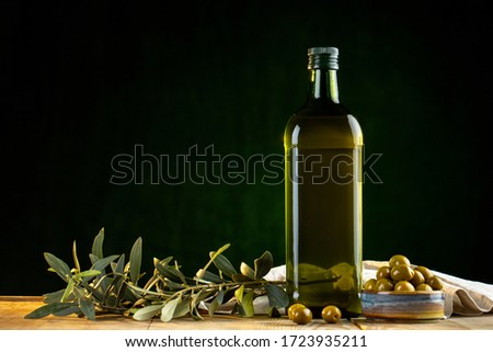 Olives and olive oil in studio Stock photo ©