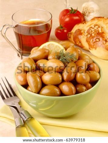 olives and tea