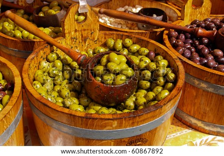 Olives, by the barrel.