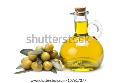 Olives covered in oil over a white background.