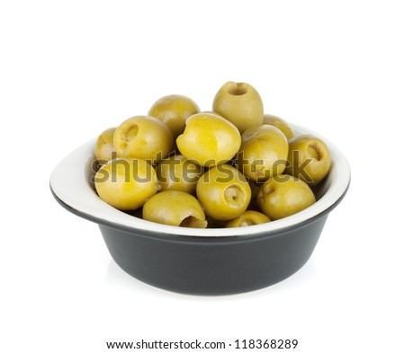 Olives in bowl. Isolated on white background