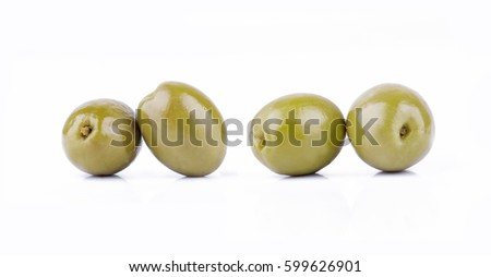 Olives isolated on white background. Ideal for packaging.