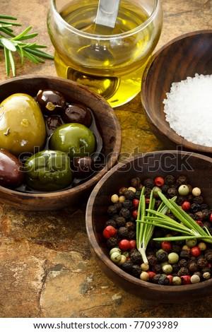 Olives, peppercorn, and sea salt